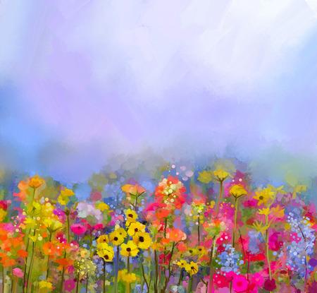 marguerite: R�sum� peinture � l'huile d'art de fleurs d'�t� � ressorts. Bleuet, fleur marguerite dans les champs. paysage prairie avec fleurs sauvages, jaune-rouge la couleur de fond du ciel. Peinture � la main de style impressionniste floral