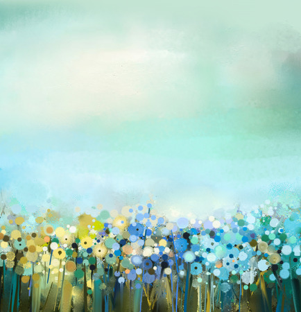 꽃 식물의 추상 미술 유화. 필드에서 민들레 꽃. 야생화와 초원 풍경. 녹색 - 푸른 하늘 색입니다. 핸드 페인트 꽃 인상파. 여름 - 봄 자연 배경