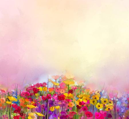 여름 - 봄 꽃의 추상 미술 유화. 수레 국화, 분야 데이지 꽃. 야생화와 초원 풍경, 노란색 - 빨간색 하늘 색 배경. 핸드 페인트 꽃 인상파 스타일
