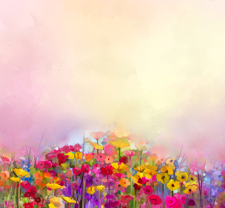 Abstract art oil painting of summer-spring flowers. Cornflower, daisy flower in fields. Meadow landscape with wildflower, Yellow-red Sky color background. Hand Paint floral Impressionist style Stok Fotoğraf - 49608135