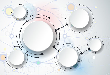 global communication: Abstract molecules and 3d paper, integrated circles. Blank space for your design, template, communication, business, network and web design. Vector illustration global social media - Communication technology concept Illustration