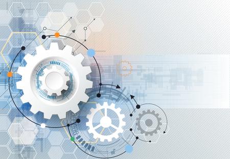 컨셉: 그림 기어 휠, 육각형 및 회로 보드, 첨단 디지털 기술 및 엔지니어링, 디지털 통신 기술 개념. 밝은 파란색 색상 배경에 추상 미래
