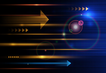 Abstract, science, futuristic, energy technology concept. Digital image of arrow sign, light rays, stripes lines with blue light, speed and motion blur over dark blue background
