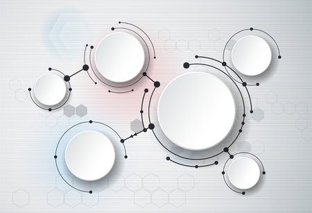white atom: Abstract molecules and 3d paper, integrated circles. Blank space for your design, template, communication, business, network and web design. Illustration global social media - Communication technology concept