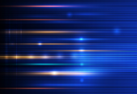 light ray: Abstract, science, futuristic, energy technology concept. Digital image of light rays, stripes lines with blue light, speed and motion blur over dark blue background