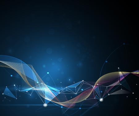 コンセプト: 図抽象的な分子と 3 D サークル、ライン、幾何学的、多角形、三角形のパターンとメッシュします。青の背景に通信技術を設計します。未来デジタル技術コンセプ