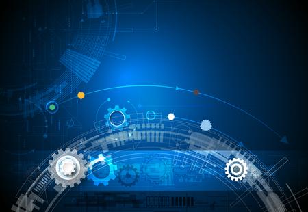 engranaje de la rueda, hexágonos y la placa de circuito, la tecnología de la ilustración de alta tecnología digital y la ingeniería, la tecnología concepto de telecomunicaciones digitales. futurista abstracto en el fondo de color azul claro
