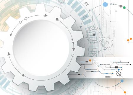 기술: 벡터 일러스트 레이 션 기어 휠 및 회로 보드, 첨단 디지털 기술 및 엔지니어링, 디지털 통신 기술 개념. 밝은 회색 파란색 배경에 추상 미래