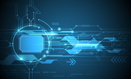 ベクトル抽象的な未来回路基板と cpu、図高コンピューターと青い色の背景上の通信技術。ハイテク デジタル技術、グローバルなソーシャル メディ  イラスト・ベクター素材