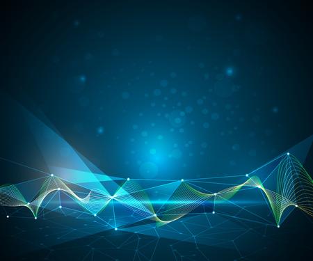 ベクトル図の抽象的な分子と 3 D メッシュ ライン、幾何学的、多角形、三角形のパターン。青の背景に通信技術。未来 - デジタル技術コンセプト ベクターイラストレーション