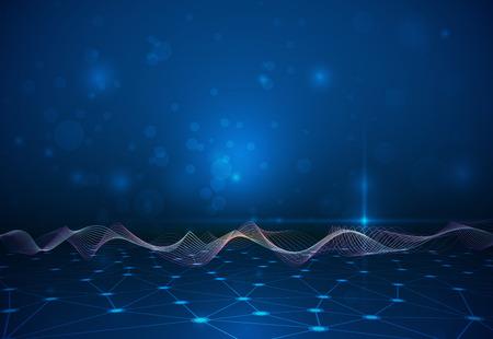 structure moléculaire abstraite avec des lignes de maillage abstraites sur la couleur bleu foncé fond. Vector illustration de la Communication - réseau pour le concept de technologie futuriste.