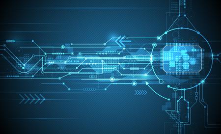 ベクトル抽象的な未来回路基板と cpu、図高コンピューターと青い色の背景上の通信技術。ハイテク デジタル技術、グローバルなソーシャル メディアの概念