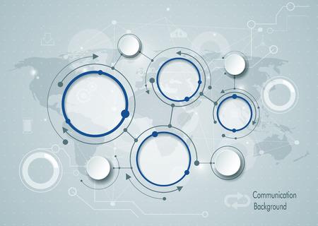 Moléculas abstractas y el concepto de tecnología de la comunicación social media global con etiqueta de papel círculo sobre gris azul claro y la tierra mapa de fondo. Con espacio para contenido, negocio, plantilla infografía Ilustración de vector