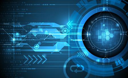 Vector Abstracte futuristische oogbol op de printplaat, Illustratie hoge computer en Communicatietechnologie op een blauwe achtergrond kleur. Hi-tech digitale technologie, wereldwijde social media concept