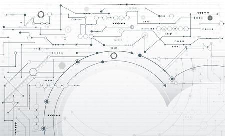 벡터 추상 미래형, 줄무늬 선 회로 보드 배경에 기어 휠 및 화살표 기호로 회로 보드 패턴을 인쇄합니다. 높은 컴퓨터 엔지니어링 - 통신 및 속도 기술  일러스트