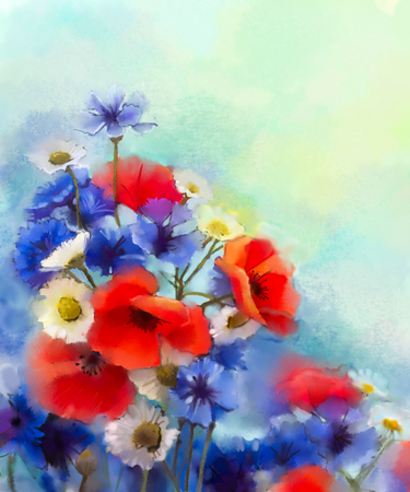 still life flowers: Watercolor red poppy flowers, blue cornflower and white daisy painting. Flower paint in soft color and blur style, Soft green and blue purple background. Spring floral seasonal nature background