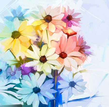 oil color: Still life of bouquet white cosmos flowers with soft yellow, pink and purple color. Oil painting soft colorful bouquet flower. Hand Painted soft color pastel style. Stock Photo