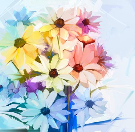 꽃다발의 아직도 인생 부드러운 노란색, 분홍색, 보라색 색상 흰색 코스모스 꽃. 유화 부드러운 다채로운 꽃다발 꽃입니다. 손으로 그린 부드러운 색상 파스텔 스타일.