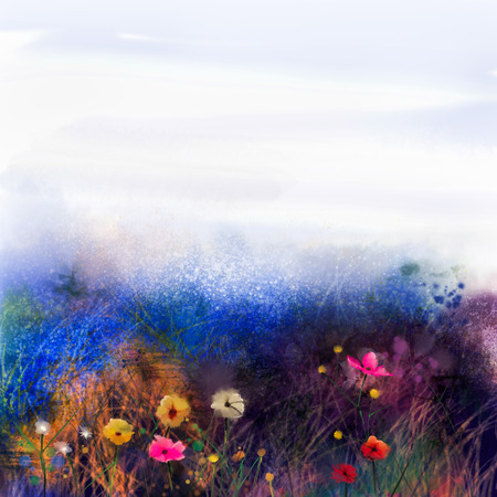 Abstract wildflowers, watercolor painting flower in meadows. Hand paint White, Yellow, Pink, Red, daisy gerbera flowers on purple blue grunge color texture background.Spring flower nature background Фото со стока
