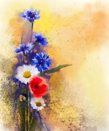 still life flowers: Watercolor red poppy flowers, blue cornflower and white daisy painting. Flower paint in soft color and blur style, Soft light yellow brown texture background. Spring floral seasonal nature background Stock Photo