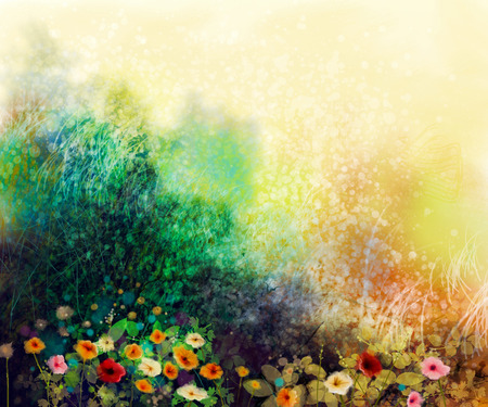 Abstract wildflowers, watercolor painting flower in meadows. Hand paint White, Yellow, Pink, Red, daisy gerbera flowers on yellow green grunge color texture background. Spring flower nature background