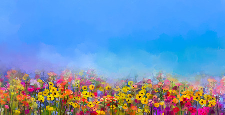 夏春の花の抽象画の油絵。コーンフラワー、フィールドでのデイジーの花。ワイルドフラワー、紫、青の空の背景の色の草原風景。ハンド ペイント