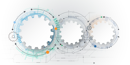 engineering concept: futuristic technology, 3d white paper gear wheel on circuit board. Illustration hi-tech, engineering, digital telecom concept. With space for content, web- template, business tech presentation Illustration