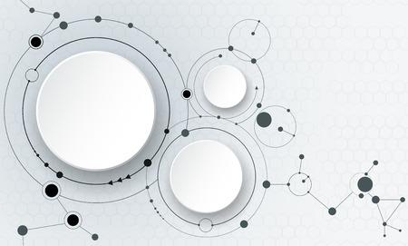 ilustración de las moléculas abstractas y la comunicación - concepto de tecnología de medios de comunicación social con el diseño de los círculos de la etiqueta de papel 3D y el espacio para su contenido, negocios, medios de comunicación social, diseño de páginas web y la red.