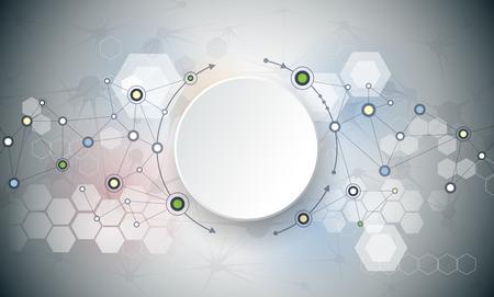 molecula: ilustración de las moléculas abstractas y la comunicación - concepto de tecnología de medios de comunicación social con el diseño de los círculos de la etiqueta de papel 3D y el espacio para su contenido, negocios, medios de comunicación social, diseño de páginas web y la red. Vectores