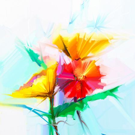 Abstract schilderen met olieverf van de lentebloemen. Stilleven van gele en rode gerbera bloem. Kleurrijk boeket bloemen met licht groen-blauwe kleur achtergrond. Hand geschilderde bloemen moderne impressionistische stijl Stockfoto