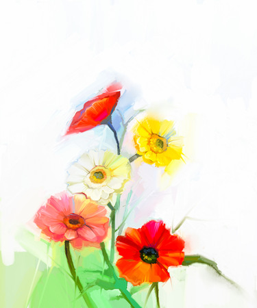 life style: Abstract oil painting of spring flowers. Still life of yellow and red gerbera flower. Colorful Bouquet flowers with light green-blue color background. Hand Painted floral modern Impressionist style