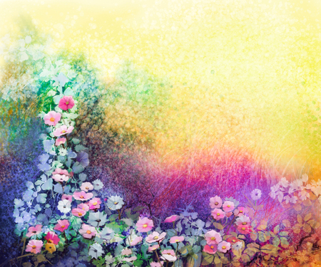 Watercolor flower painting. Hand painted White, Yellow and Red Ivy flowers in soft blue green, yellow color and grunge texture background. Spring flower seasonal nature background 免版税图像