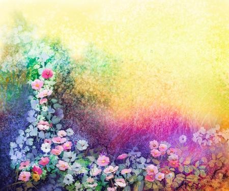 Waterverfbloem schilderij. Met de hand geschilderd wit, geel en rood Klimop bloemen in zacht blauw groene, gele kleur en grunge textuur achtergrond. Lentebloem seizoensgebonden aard achtergrond