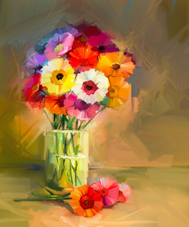 life style: Abstract oil painting of spring flowers. Still life of yellow and red gerbera flower.t Colorful Bouquet flowers in glass vase. Hand Painted floral modern Impressionist style