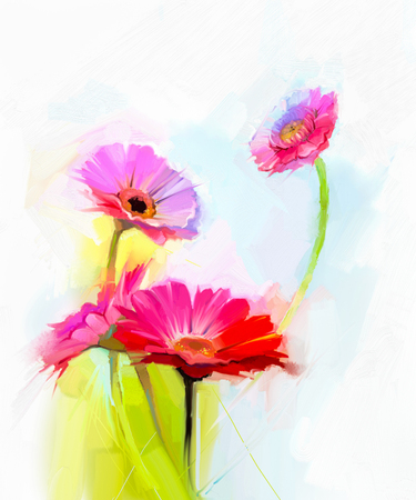 closeup of pink daisy with: Abstract oil painting of spring flowers. Still life of yellow and red gerbera flower. Colorful Bouquet flowers with light green-blue color background. Hand Painted floral modern Impressionist style