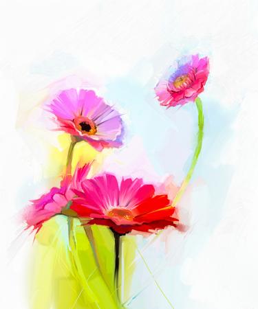 peinture: peinture à l'huile abstraite de fleurs printanières. Nature morte de jaune et rouge fleur de gerbera. fleurs bouquet coloré de vert-bleu clair couleur de fond. Peint à la main style impressionniste moderne floral