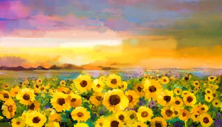 Lgemälde gelb- goldene Sonnenblume, Gänseblümchen-Blumen in den Feldern. Sonnenuntergang Wiesenlandschaft mit Wildblumen, Hügel und Himmel in orange, blau violettem Hintergrund. Hand malen Sommer floral Impressionistart Standard-Bild - 52533041