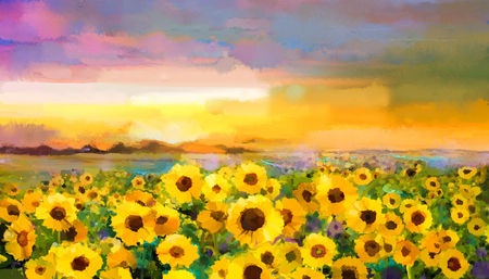 flower meadow: Oil painting yellow- golden Sunflower, Daisy flowers in fields. Sunset meadow landscape with wildflower, hill and sky in orange, blue violet background. Hand Paint summer floral Impressionist style