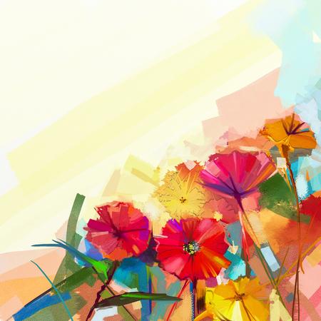Abstraktes Ölgemälde von Frühlingsblumen. Stillleben von gelben und roten Gerbera-Blume. Bunte Blumenstrauß Blumen mit hellgrün-blaue Farbe Hintergrund. Handgemalte Blumen modernen impressionistischen Stil