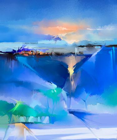 キャンバスにカラフルな油絵風景を抽象化します。半抽象的なイメージの木、丘と緑、太陽の光と青空と青いフィールド。春の季節、自然の背景