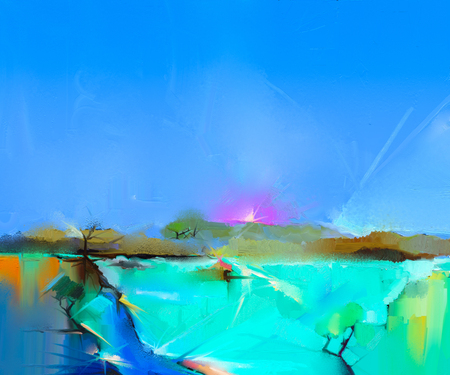 Abstract colorful oil painting landscape on canvas. Semi- abstract image of tree, hill and green field with blue sky. Spring season nature background