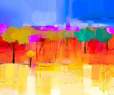 キャンバスにカラフルな油絵風景を抽象化します。ツリーと黄色と赤と青い空のフィールドの半抽象的なイメージ。春の季節、自然の背景