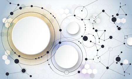 molecula: Ilustración vectorial de moléculas abstractas y la comunicación - social Concepto de tecnología de los medios con los círculos de la etiqueta de papel 3D de diseño y espacio para su contenido, negocios, medios de comunicación social, la red y el diseño web.