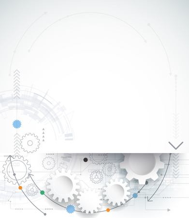Vector illustration gear wheel and circuit board, Hi-tech digital technology and engineering, digital telecom technology concept. Abstract futuristic on light blue color background