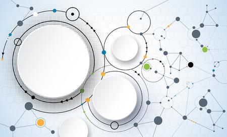 medios de informaci�n: Ilustraci�n vectorial de mol�culas abstractas y la comunicaci�n - social Concepto de tecnolog�a de los medios con los c�rculos de la etiqueta de papel 3D de dise�o y espacio para su contenido, negocios, medios de comunicaci�n social, la red y el dise�o web.