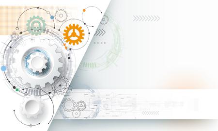 ベクトル図の歯車と回路基板、ハイテク デジタル技術と工学、デジタル通信技術コンセプト。明るい青色の背景に未来的な抽象化します。  イラスト・ベクター素材