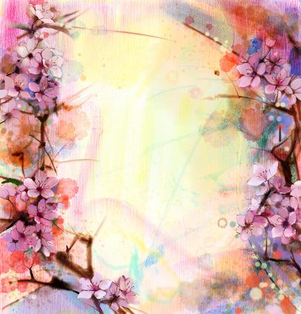Aquarell Kirschblüten - Japanische Kirsche - Pink Sakura Blumen in sanften Farben über verschwommenes Natur Hintergrund. Frühlingsblume saisonale Natur Hintergrund Standard-Bild