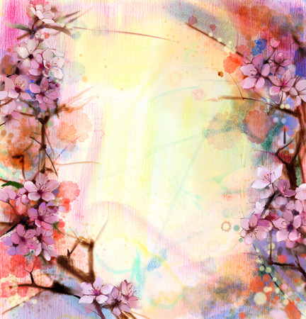 japanese gardens: Watercolor Painting Cherry blossoms - Japanese cherry - Pink Sakura floral in soft color over blurred nature background. Spring flower seasonal nature background