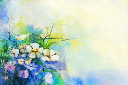 flower fields: Abstract flower watercolor painting. Hand paint White and soft Yellow, Pink, Red color of meadow flowers in soft color on blue, green color background. Spring floral, Wild flowers seasonal nature
