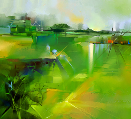 Abstract colorful yellow and green oil painting landscape on canvas. Semi- abstract image of tree, hill and flowers meadow (field) with gray sky. Spring,Summer season nature background